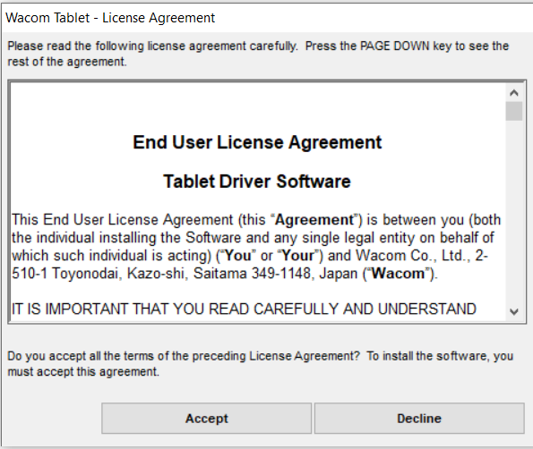 Screenshot of the Wacom Tablet license agreement
