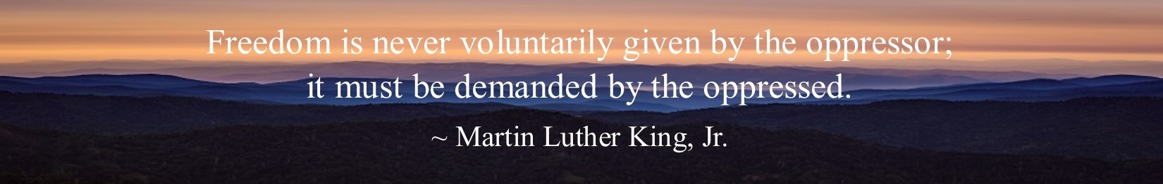 Freedom is never voluntarily given by the oppressor; it must be demanded by the oppressed. Martin Luther King, Jr.