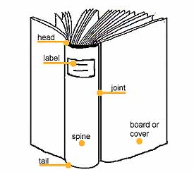 Drawing of a book with labels indicating the proper names for the different parts of the outside of a book.