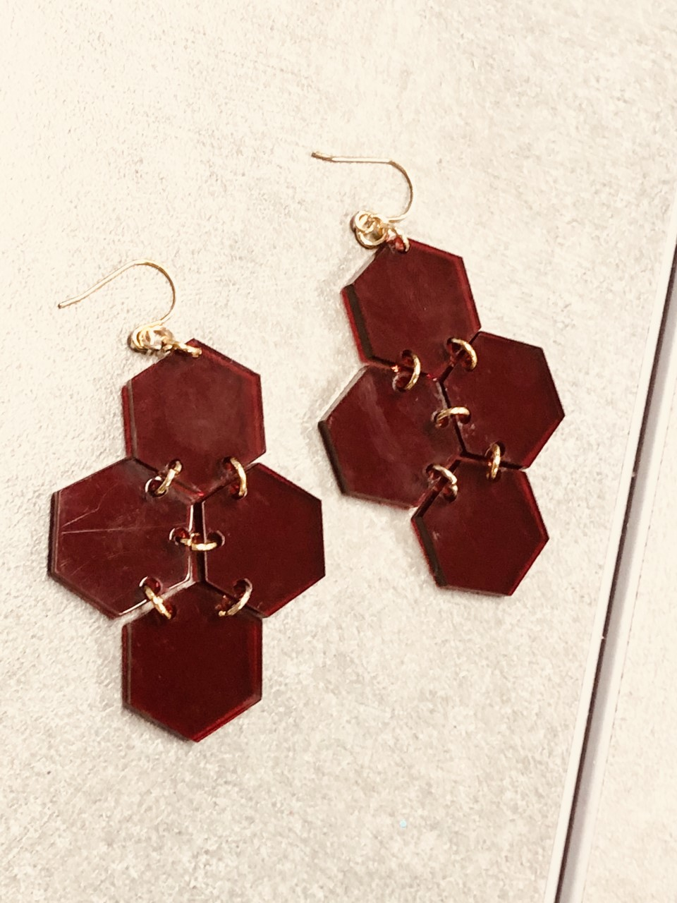 Transparent Hexagon Earrings