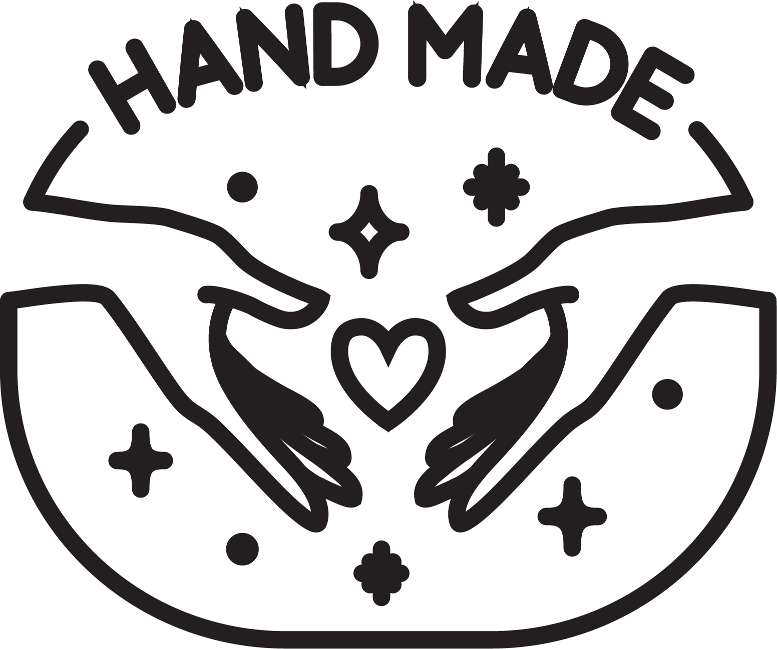 """Graphic for makerspace events with the text """"hand made"""" and an image with hands around a cartoon heart"""