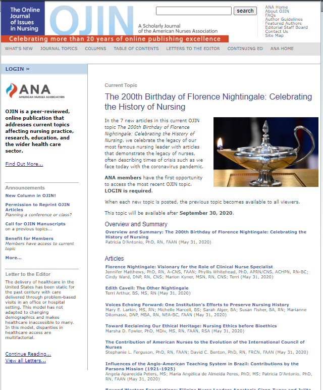 Thumbnail of Online Journal of Issues in Nursing web page