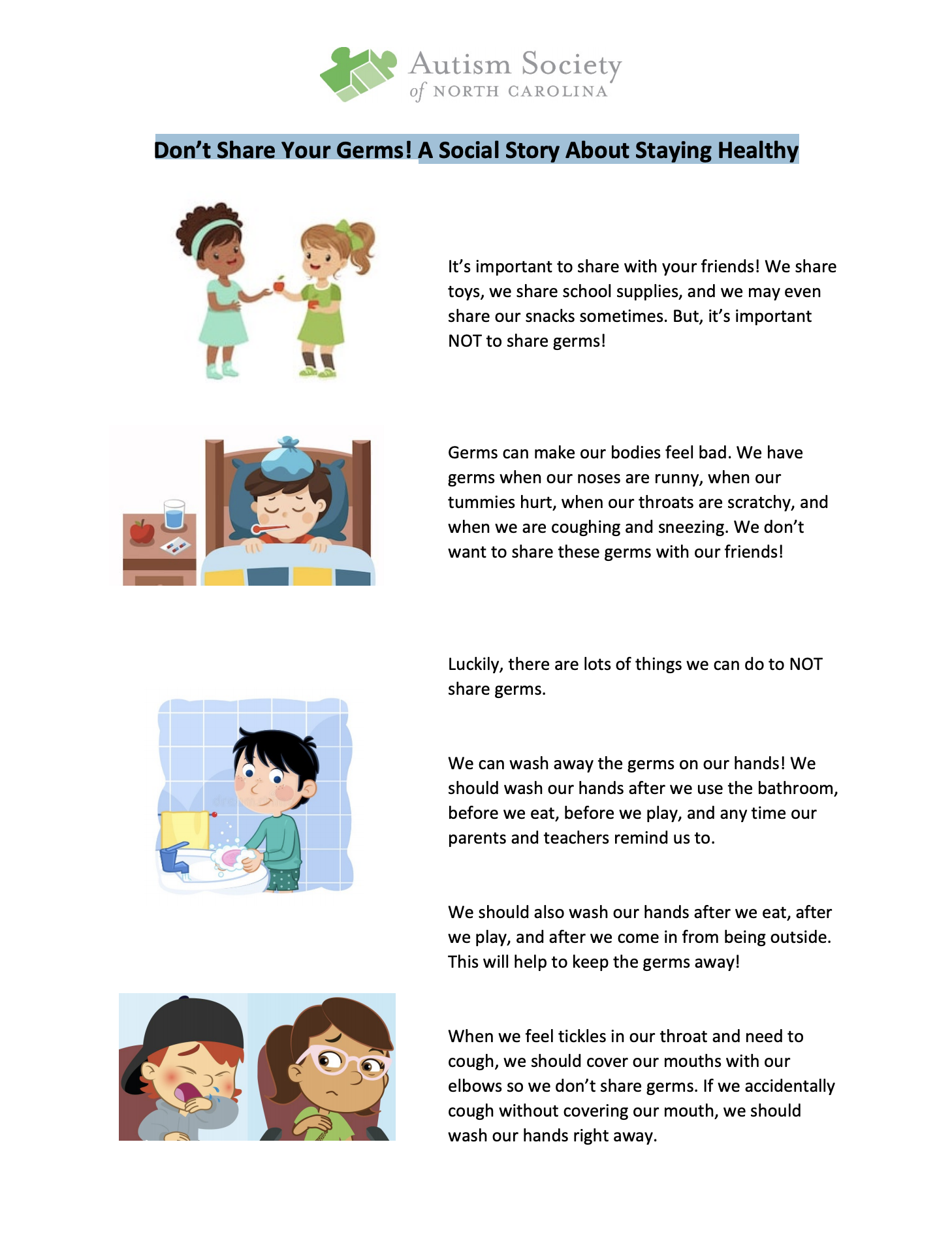 Don't Share Your Germs! A Social Story About Staying Healthy