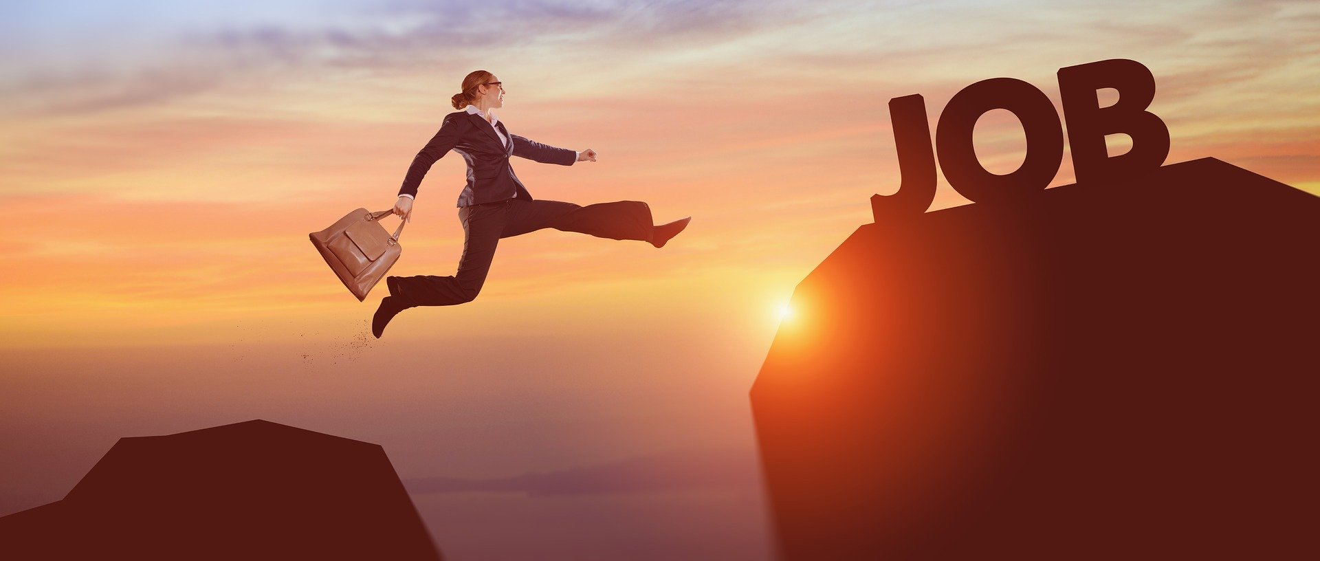 business woman jumping from one rock to another that is labeled 'Job'