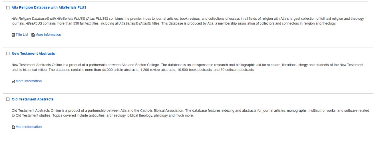 Screenshot of the Atla religion databases.