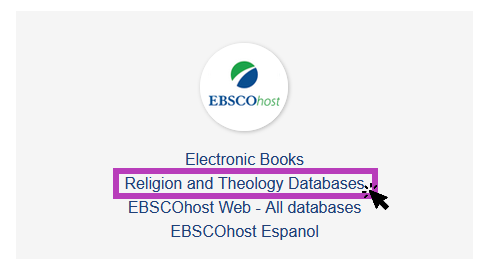 Screenshot of a list of EBSCO databases links with a purple box around the Religion and Theology Databases link.