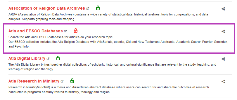 Screenshot of Atla and EBSCO databases link in the A-Z List.