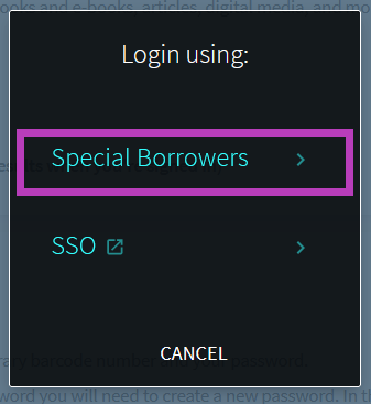 Screenshot of the catalog sign in options with a purple box around the Special Borrowers link.