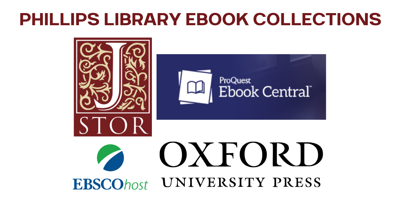 """An image with all 4 ebook provider logos and the words """"Phillips Library Ebook Collections"""" above the logos."""