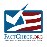 FactCheck.org logo of an red, white, and blue flag with a check where there are usually stars