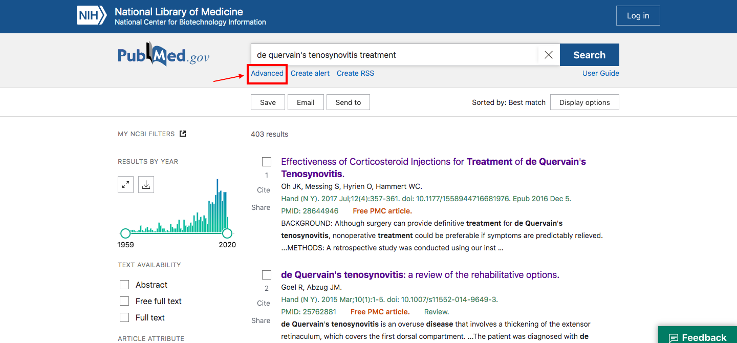 "A screenshot of a search for ""de quervain's tenosynovitis treatment"" with a box around the word ""advanced"" below the search bar and an arrow pointing to it."