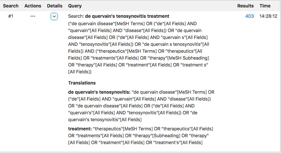 "A screenshot of all of the MeSH terms and other terminology that is being included in the ""de quervain's tenosynovitis treatment"" search"