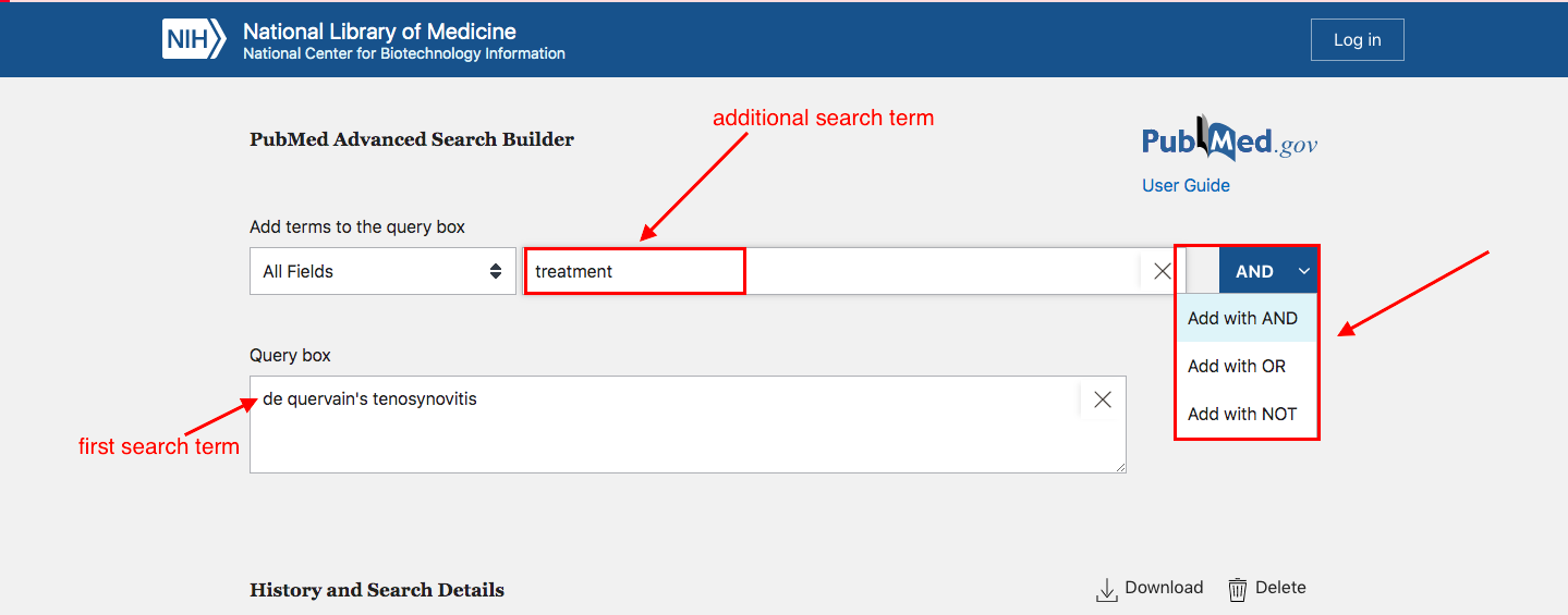 "A screenshot of an advanced search screen with an arrow pointing to the first search term in the query box, another arrow indicating where subsequent search terms are added, and an arrow pointing to the dropdown of option next to the ""add"" button."
