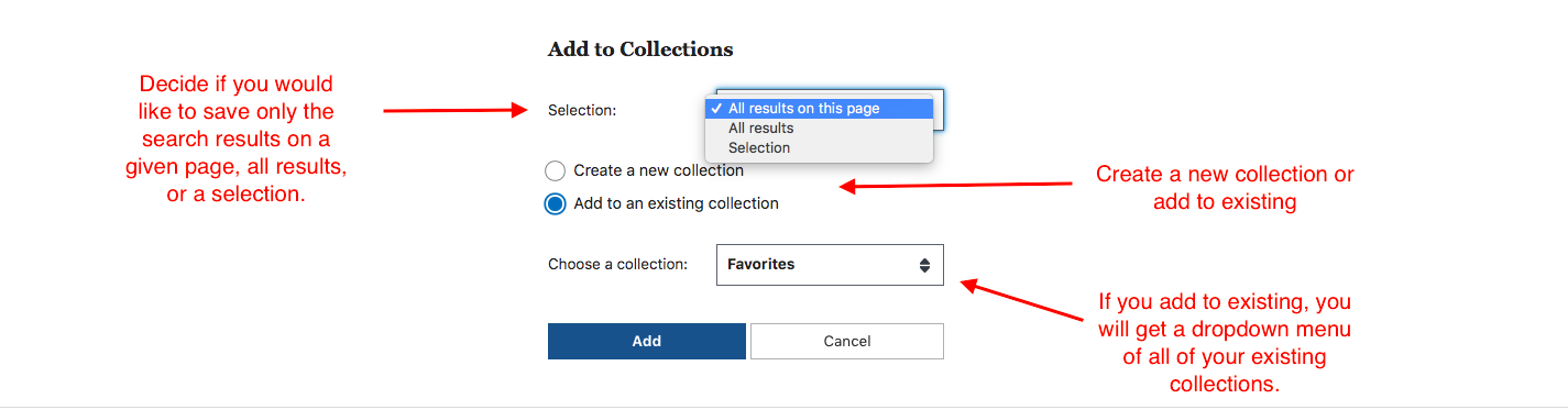 Arrows pointing to the different components of saving a search in a collection.