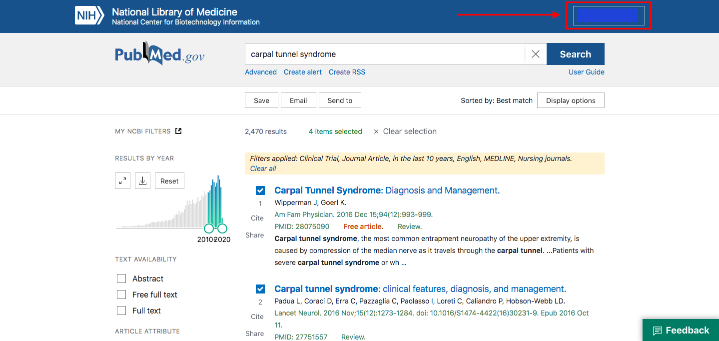 An arrow pointing to where the username name is on the PubMed screen
