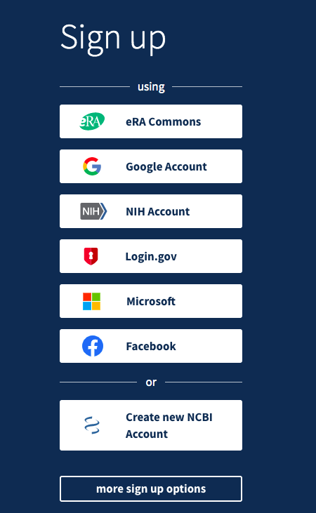 An image of the sign up options for PubMed, including Google, Microsoft, and Facebook.