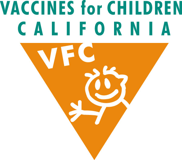 Vaccines for Children logo above an orange inverted triangle with a white cartoon stick figure
