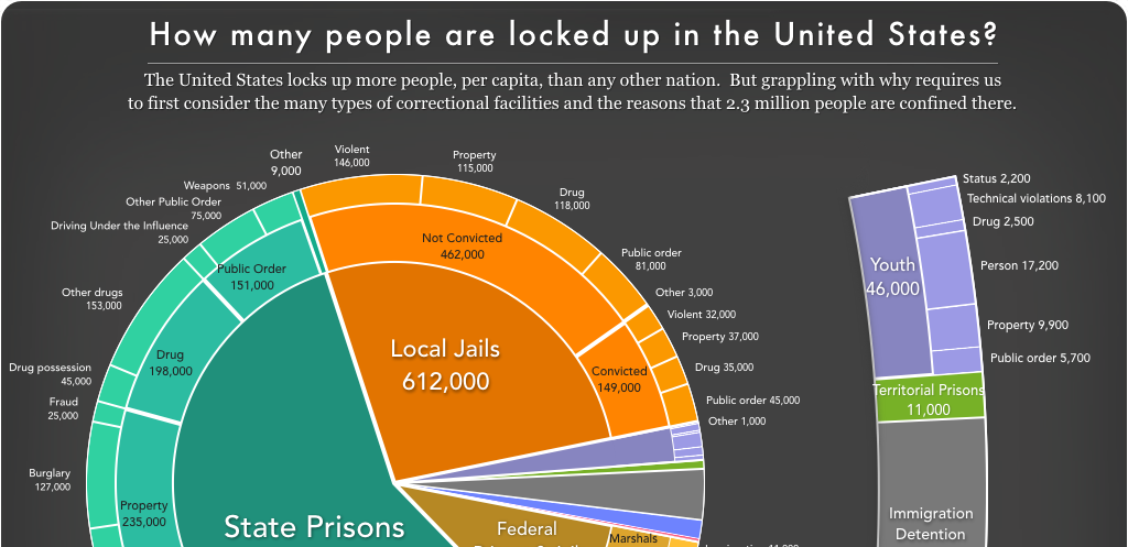pie chart showing the distribution of people who are incarcerated in the United States including local jails, state prisons, federal prisons, and more
