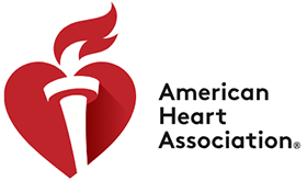 American Heart Association logo with a red heart and a white torch through the middle