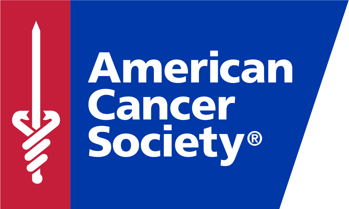 American Cancer Society logo in a blue box with a red column on the left