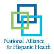 National Alliance for Hispanic Health with overlapping dark blue, light blue, and green rectangles
