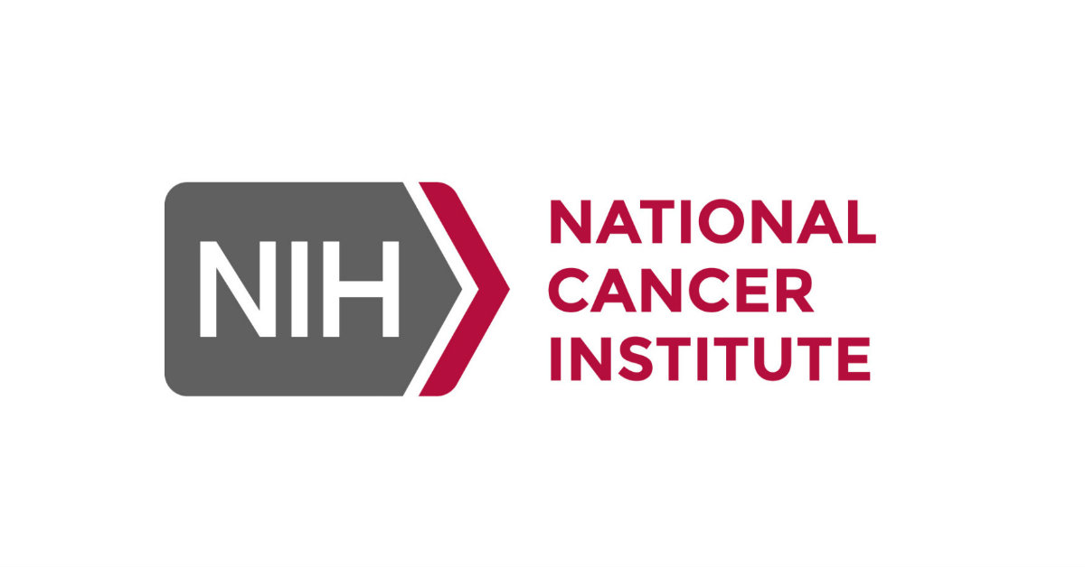 National Cancer Institute logo and gray box with NIH logo and a red arrow on the right of the box