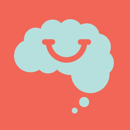 coral background with a blue cloud thought bubble with a smiling mouth