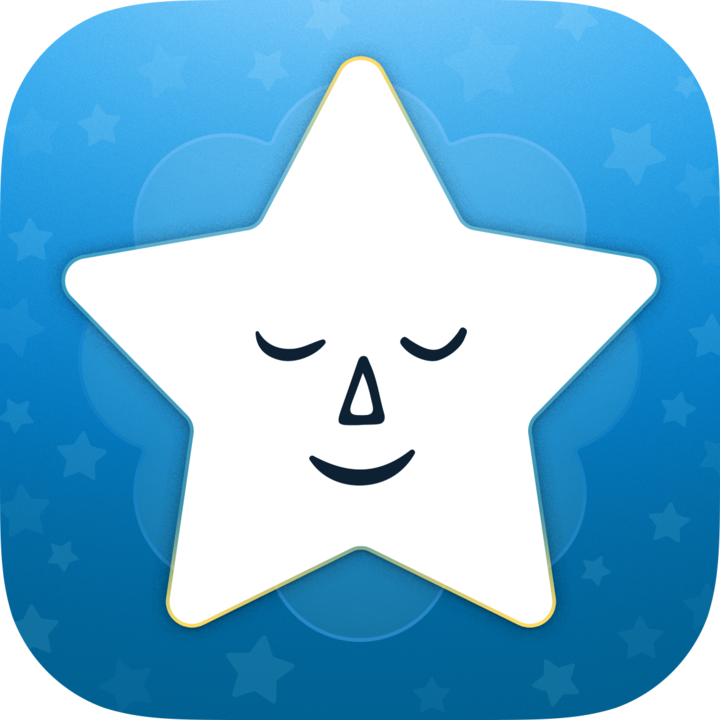 white star with a contently smiling face