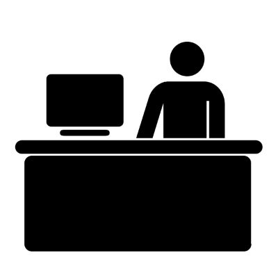 One person at a desk with a computer