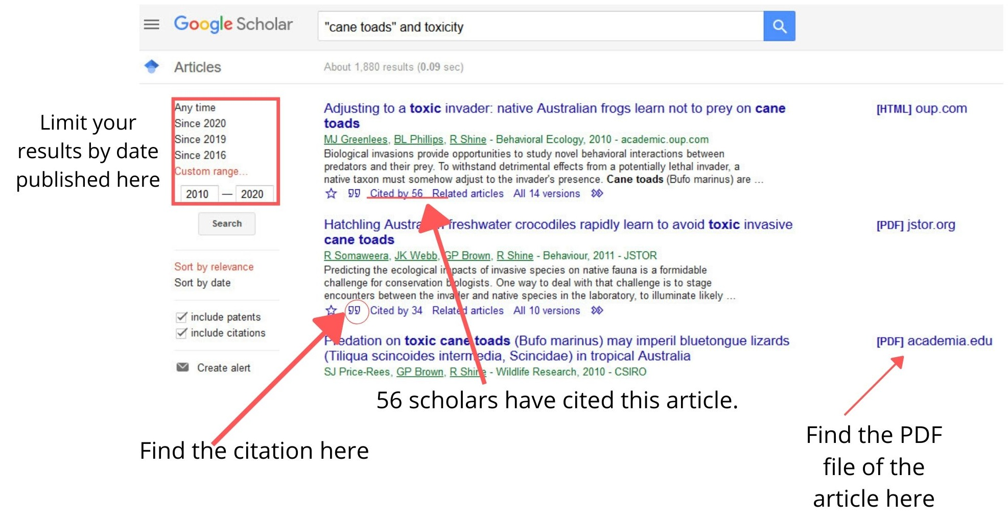 Google Scholar allows you to limit by date published. It also gives you the citation for the article and how many times other scholars have cited the article. Make sure to look for the PDF file for the article itself.