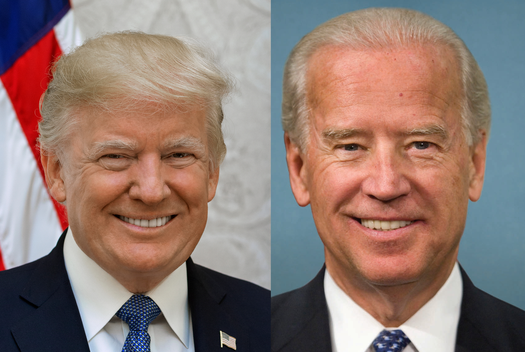 two candidates' headshots side-by-side: President Donald Trump on the Left, and former Vice President Joe Biden on the right. Both men are smiling, and both are wearing suits.
