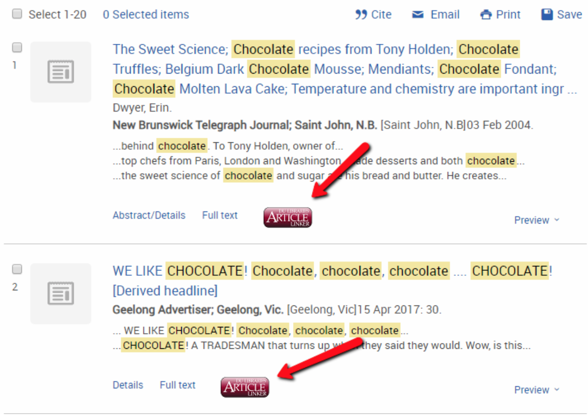 Article Linker button examples from ProQuest database