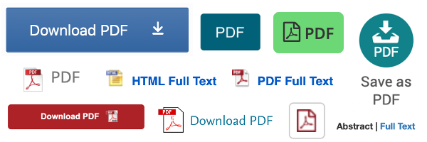 Examples of Full Text/PDF buttons found within DU's institutional subscription databases