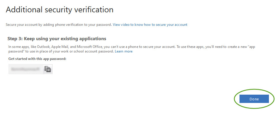 the additional security verification, step 3. The Done button is circled.