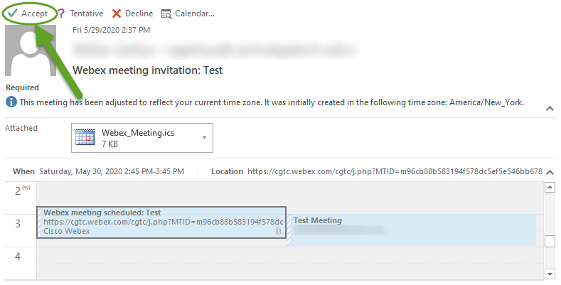 Webex email invitation. An arrow is pointing to Accept.