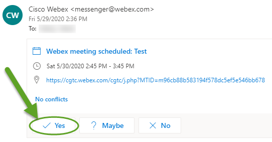 Webex email invitation. An arrow is pointing to Yes.