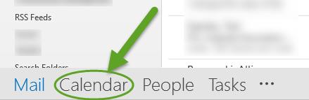 Outlook inbox. An arrow is pointing to the Calendar.