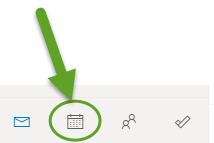Outlook inbox. An arrow is pointing to the calendar icon.