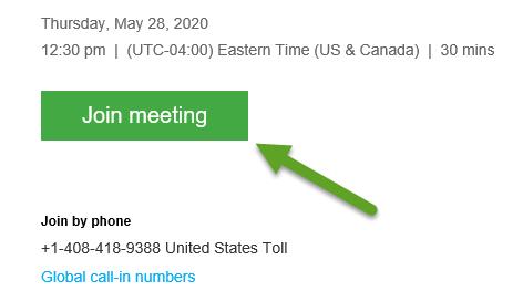 Webex Join Meeting button