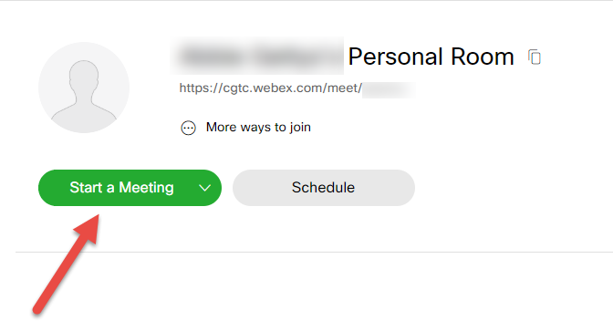 Webex dashboard. An arrow is pointing to the Start a Meeting button.