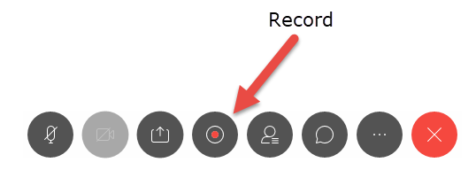 Webex meeting. An arrow is pointing to the record button.