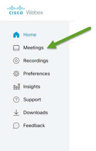 Webex menu. An arrow is pointing to Meetings.