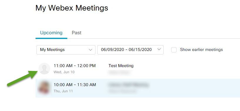 List of upcoming meetings. An arrow is pointing to a Test meeting.