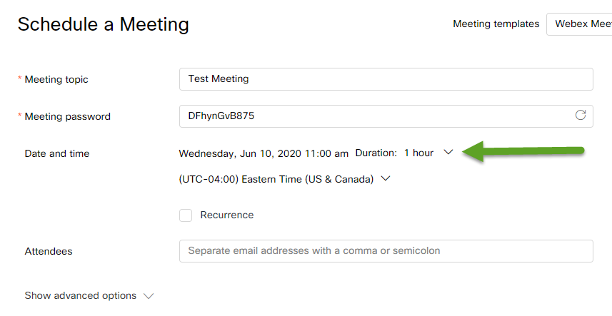 Meeting edit screen. An arrow is pointing to the date and time.