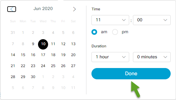 Date and time menu. An arrow is pointing to Done.