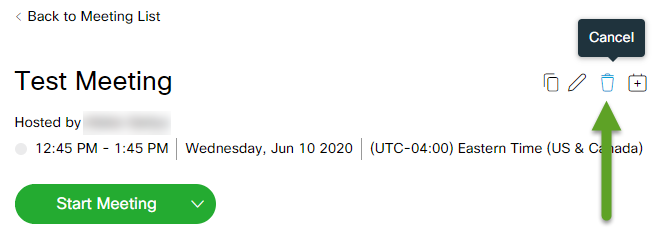 Meeting details. An arrow is pointing to the Cancel icon.