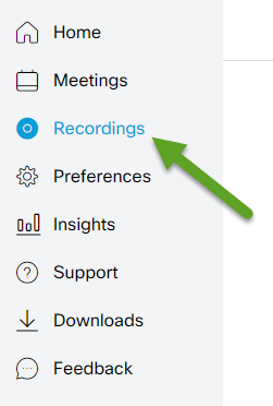 Webex menu.An arrow is pointing to Recordings.