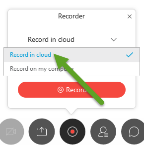 An alternate recorder menu. An arrow is pointing to Record in cloud.
