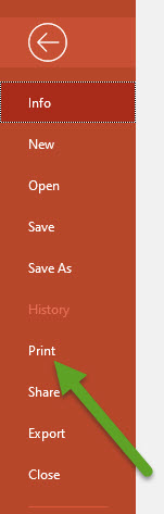 PowerPoint File menu. An arrow is pointing to Print.