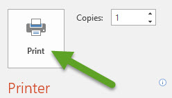PowerPoint print menu. An arrow is pointing to the Print button.